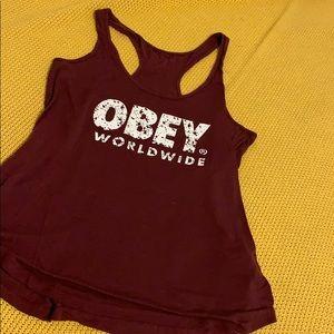 Maroon Women's OBEY brand tank top